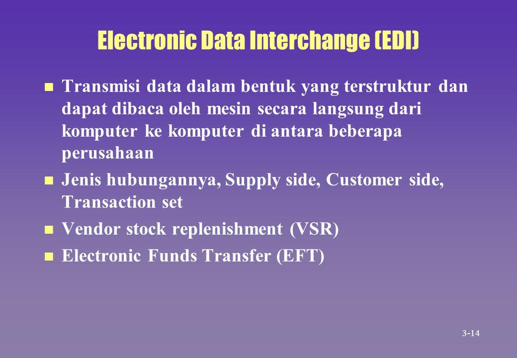 Electronic Data Interchange (EDI) n n Transmisi data dalam bentuk yang terstruktur dan dapat dibaca oleh mesin secara langsung dari komputer ke komput