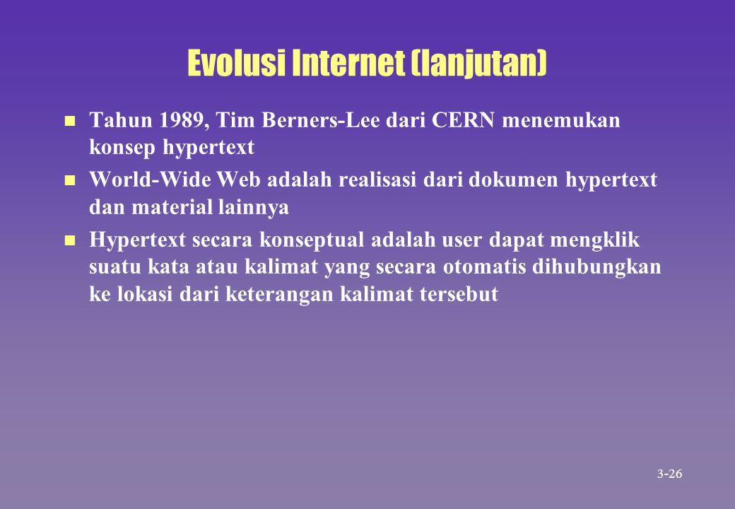 Evolusi Internet (lanjutan) n n Tahun 1989, Tim Berners-Lee dari CERN menemukan konsep hypertext n n World-Wide Web adalah realisasi dari dokumen hype