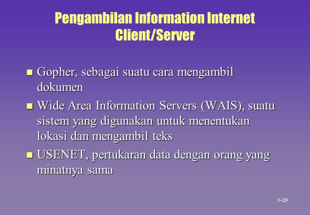 Pengambilan Information Internet Client/Server n Gopher, sebagai suatu cara mengambil dokumen n Wide Area Information Servers (WAIS), suatu sistem yan