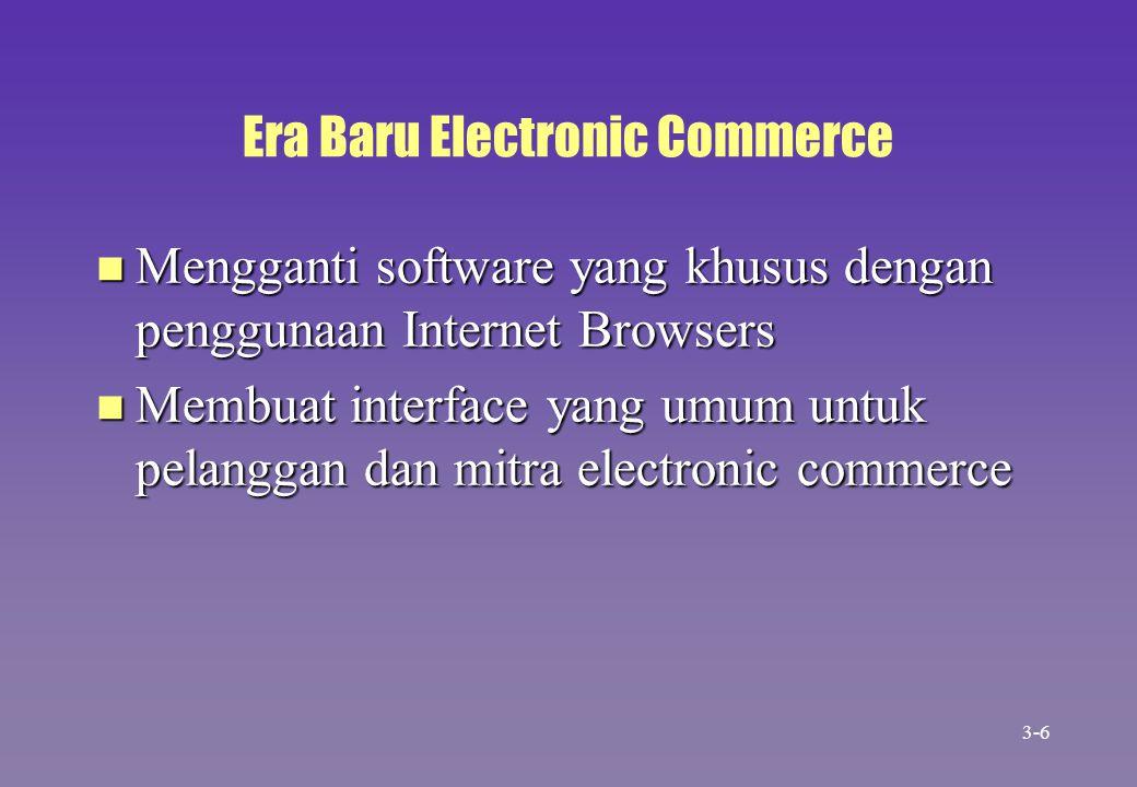 Era Baru Electronic Commerce n Mengganti software yang khusus dengan penggunaan Internet Browsers n Membuat interface yang umum untuk pelanggan dan mi