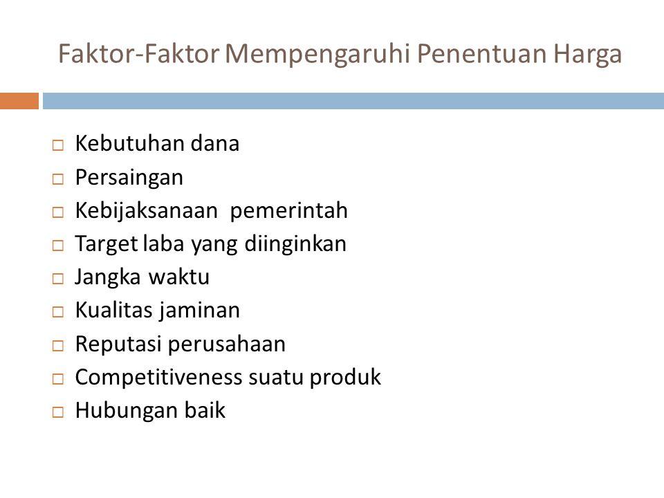 Faktor-Faktor Mempengaruhi Penentuan Harga  Kebutuhan dana  Persaingan  Kebijaksanaan pemerintah  Target laba yang diinginkan  Jangka waktu  Kualitas jaminan  Reputasi perusahaan  Competitiveness suatu produk  Hubungan baik