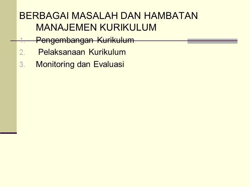 BERBAGAI MASALAH DAN HAMBATAN MANAJEMEN KURIKULUM 1.