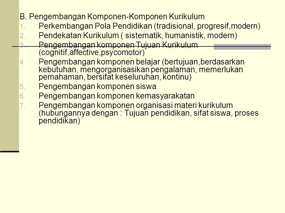 B.Pengembangan Komponen-Komponen Kurikulum 1.