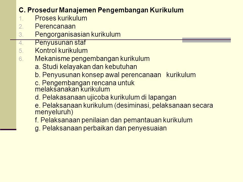 C.Prosedur Manajemen Pengembangan Kurikulum 1. Proses kurikulum 2.