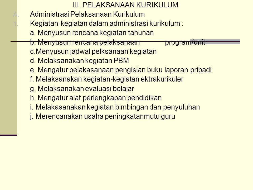 III.PELAKSANAAN KURIKULUM A. Administrasi Pelaksanaan Kurikulum 1.