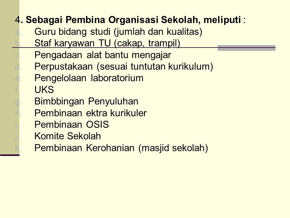 4.Sebagai Pembina Organisasi Sekolah, meliputi : a.