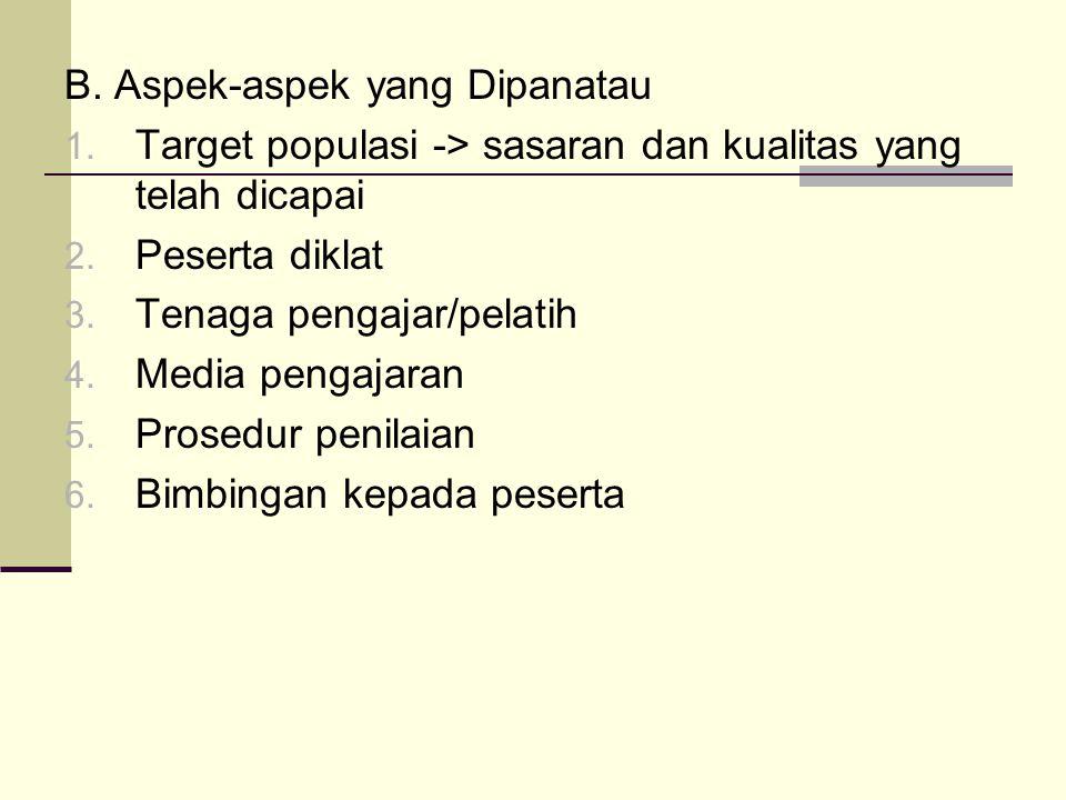 B.Aspek-aspek yang Dipanatau 1. Target populasi -> sasaran dan kualitas yang telah dicapai 2.