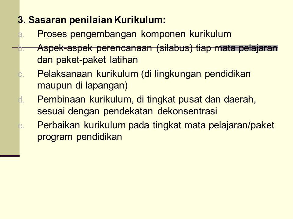 3.Sasaran penilaian Kurikulum: a. Proses pengembangan komponen kurikulum b.