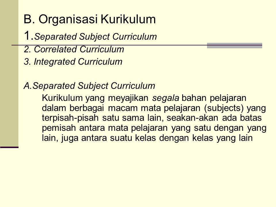 B.Organisasi Kurikulum 1. Separated Subject Curriculum 2.