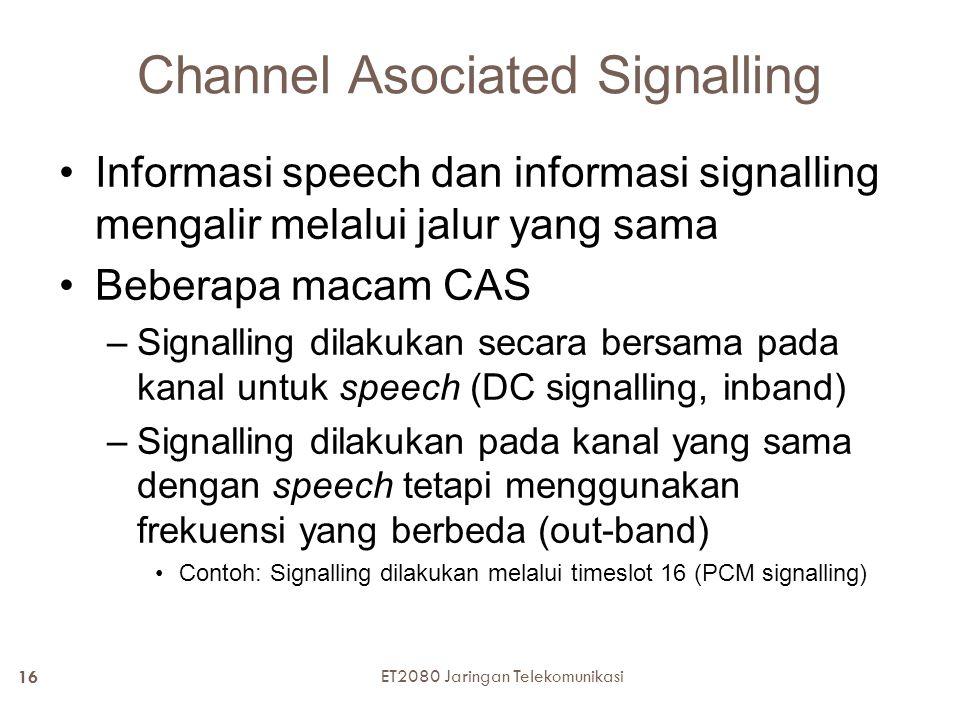 Channel Asociated Signalling Informasi speech dan informasi signalling mengalir melalui jalur yang sama Beberapa macam CAS –Signalling dilakukan secar