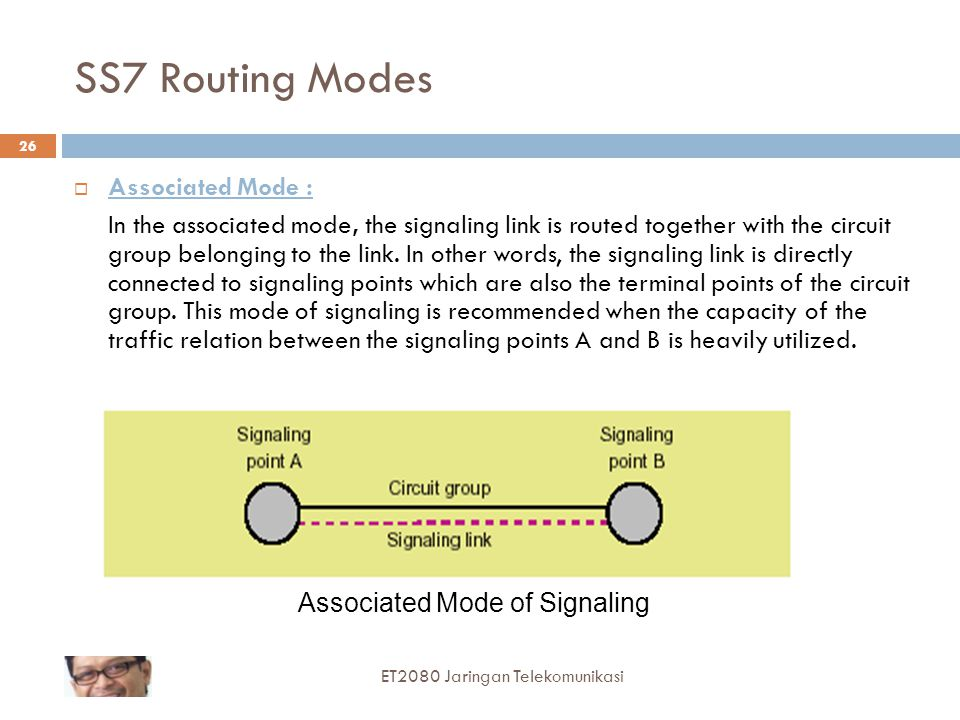SS7 Routing Modes  Associated Mode : In the associated mode, the signaling link is routed together with the circuit group belonging to the link.