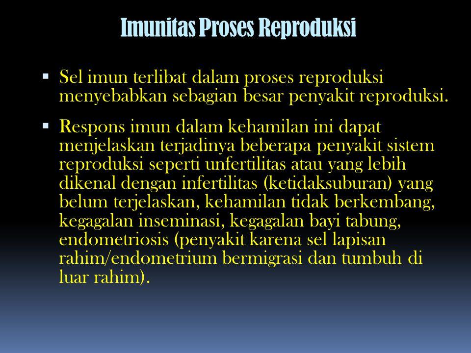 Imunitas Proses Reproduksi  Sel imun terlibat dalam proses reproduksi menyebabkan sebagian besar penyakit reproduksi.  Respons imun dalam kehamilan