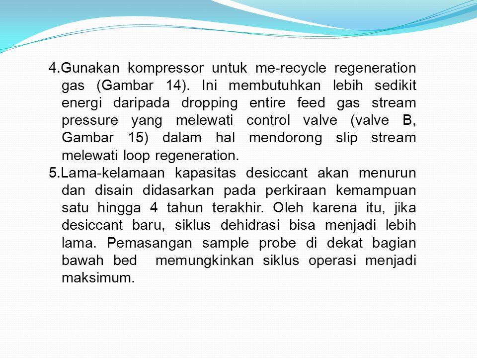 4.Gunakan kompressor untuk me-recycle regeneration gas (Gambar 14). Ini membutuhkan lebih sedikit energi daripada dropping entire feed gas stream pres