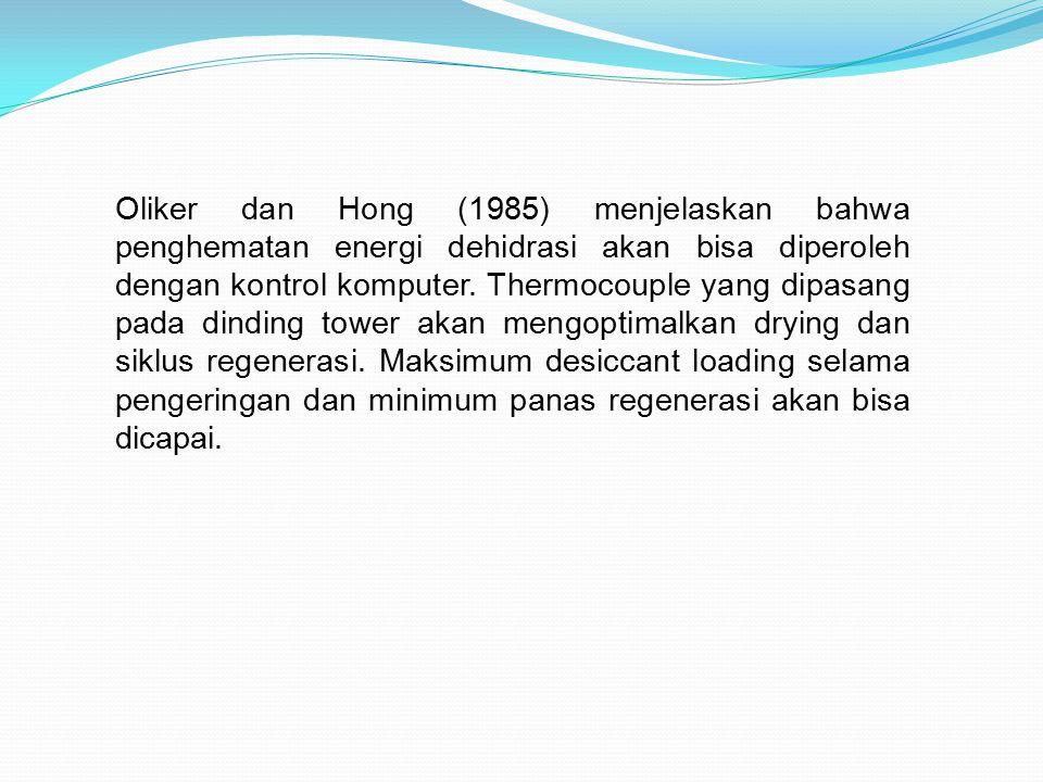 Oliker dan Hong (1985) menjelaskan bahwa penghematan energi dehidrasi akan bisa diperoleh dengan kontrol komputer. Thermocouple yang dipasang pada din