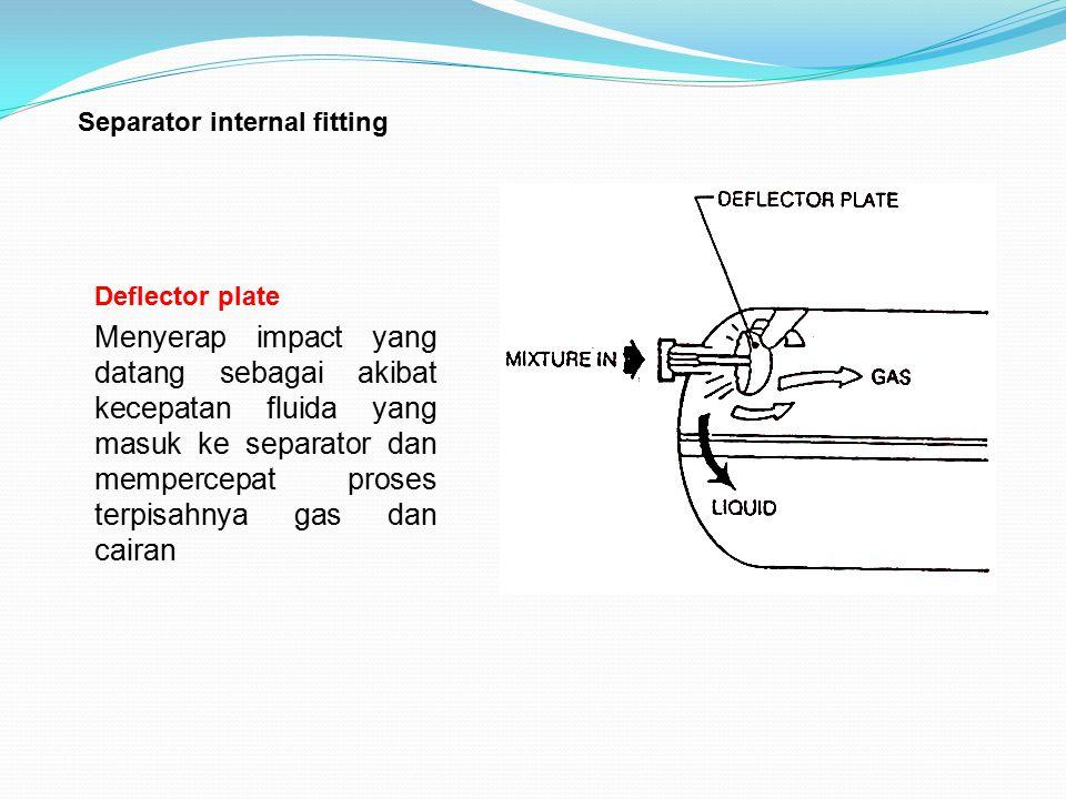 Separator internal fitting Deflector plate Menyerap impact yang datang sebagai akibat kecepatan fluida yang masuk ke separator dan mempercepat proses