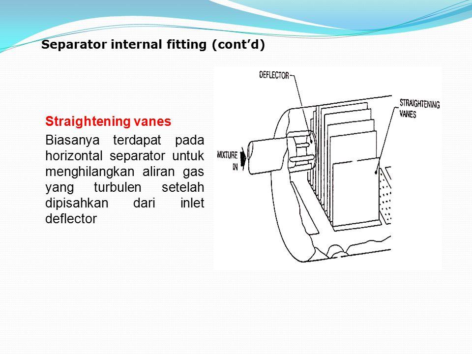 Separator internal fitting (cont'd) Straightening vanes Biasanya terdapat pada horizontal separator untuk menghilangkan aliran gas yang turbulen setel