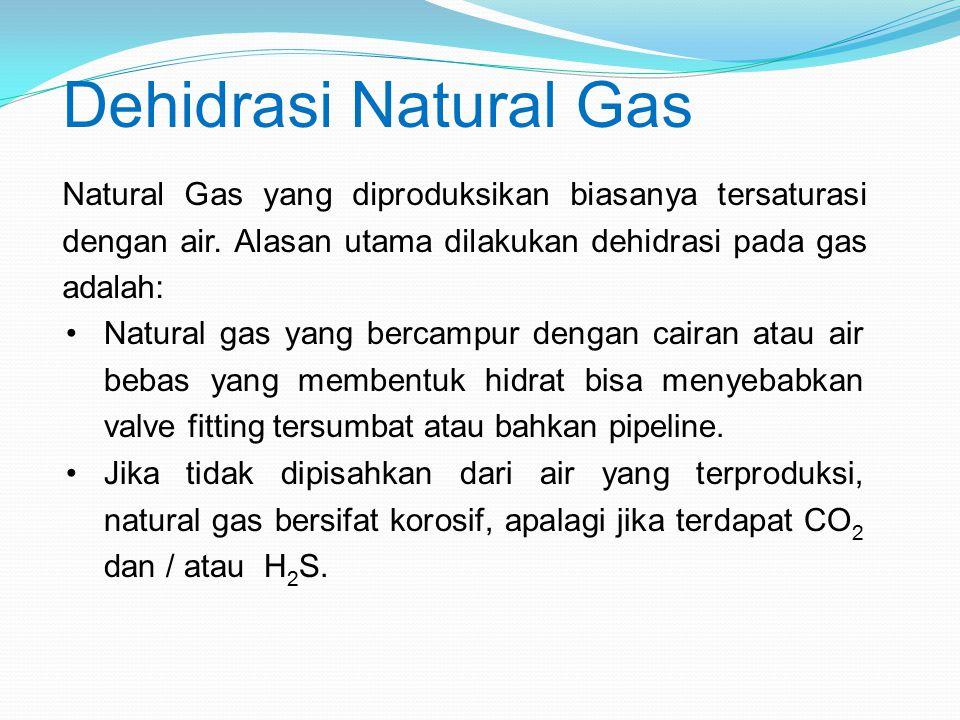 Natural Gas yang diproduksikan biasanya tersaturasi dengan air. Alasan utama dilakukan dehidrasi pada gas adalah: Natural gas yang bercampur dengan ca