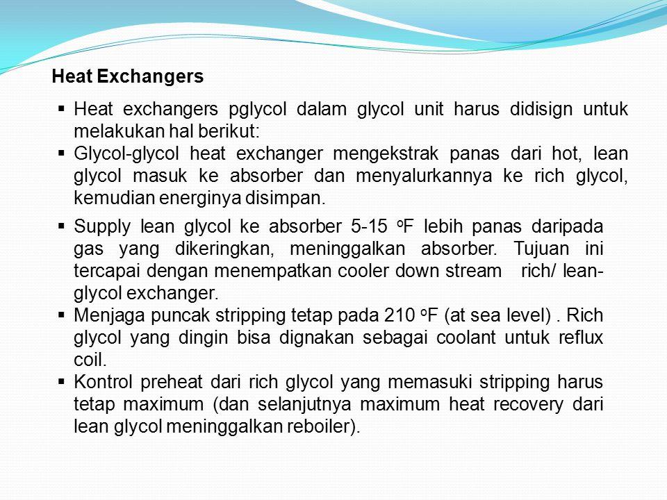 Heat Exchangers  Heat exchangers pglycol dalam glycol unit harus didisign untuk melakukan hal berikut:  Glycol-glycol heat exchanger mengekstrak pan