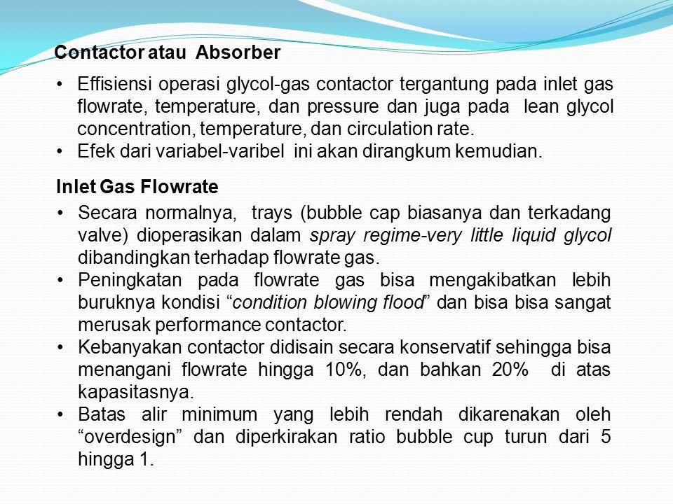 Contactor atau Absorber Effisiensi operasi glycol-gas contactor tergantung pada inlet gas flowrate, temperature, dan pressure dan juga pada lean glyco
