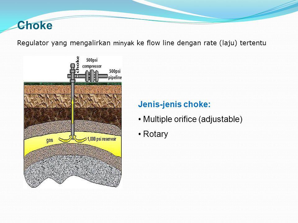 Choke Regulator yang mengalirkan minyak ke flow line dengan rate (laju) tertentu Jenis-jenis choke: Multiple orifice (adjustable) Rotary
