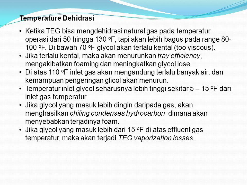 Temperature Dehidrasi Ketika TEG bisa mengdehidrasi natural gas pada temperatur operasi dari 50 hingga 130 o F, tapi akan lebih bagus pada range 80- 1