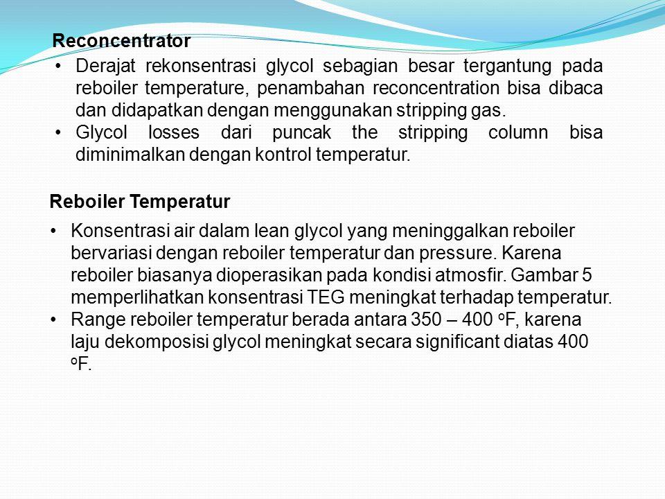 Reconcentrator Derajat rekonsentrasi glycol sebagian besar tergantung pada reboiler temperature, penambahan reconcentration bisa dibaca dan didapatkan