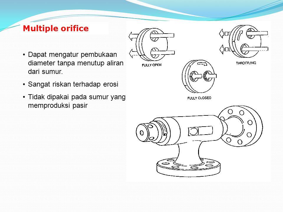 Multiple orifice Dapat mengatur pembukaan diameter tanpa menutup aliran dari sumur. Sangat riskan terhadap erosi Tidak dipakai pada sumur yang memprod