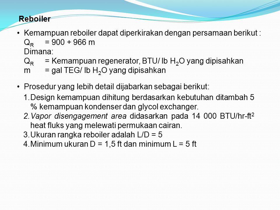 Reboiler Kemampuan reboiler dapat diperkirakan dengan persamaan berikut : Q R = 900 + 966 m Dimana: Q R = Kemampuan regenerator, BTU/ lb H 2 O yang di