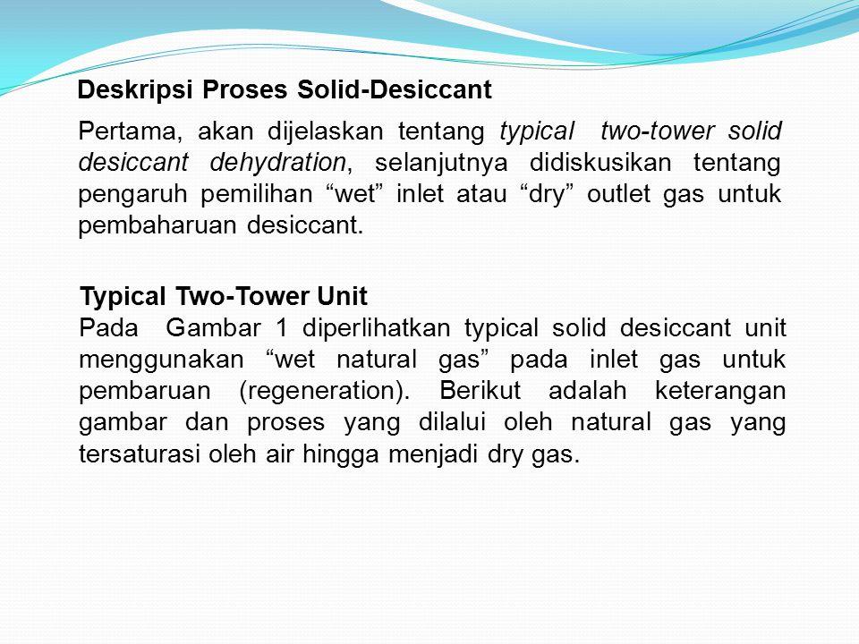 Deskripsi Proses Solid-Desiccant Pertama, akan dijelaskan tentang typical two-tower solid desiccant dehydration, selanjutnya didiskusikan tentang peng