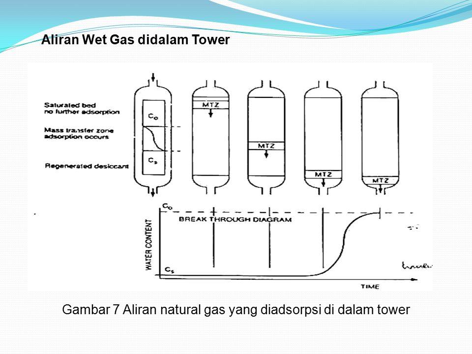 Aliran Wet Gas didalam Tower Gambar 7 Aliran natural gas yang diadsorpsi di dalam tower