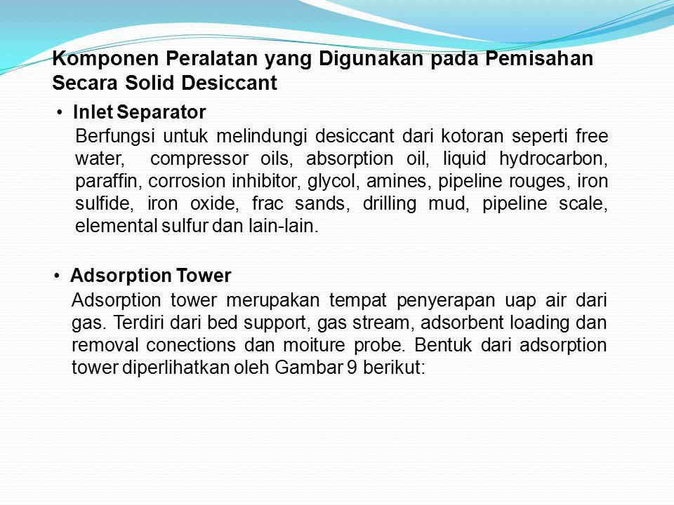 Komponen Peralatan yang Digunakan pada Pemisahan Secara Solid Desiccant Inlet Separator Berfungsi untuk melindungi desiccant dari kotoran seperti free