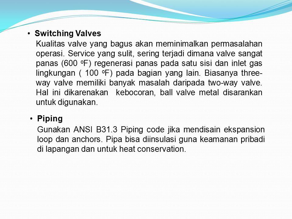 Switching Valves Kualitas valve yang bagus akan meminimalkan permasalahan operasi. Service yang sulit, sering terjadi dimana valve sangat panas (600 o