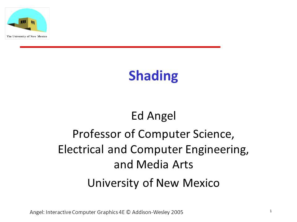 32 Angel: Interactive Computer Graphics 4E © Addison-Wesley 2005 Lambertian surfaces