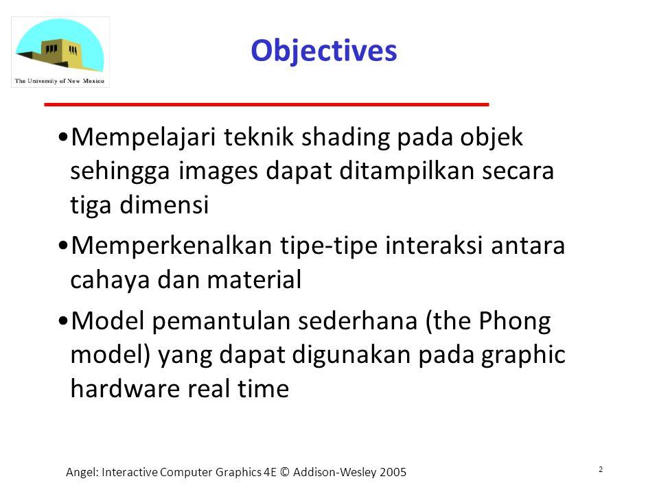 2 Angel: Interactive Computer Graphics 4E © Addison-Wesley 2005 Objectives Mempelajari teknik shading pada objek sehingga images dapat ditampilkan secara tiga dimensi Memperkenalkan tipe-tipe interaksi antara cahaya dan material Model pemantulan sederhana (the Phong model) yang dapat digunakan pada graphic hardware real time