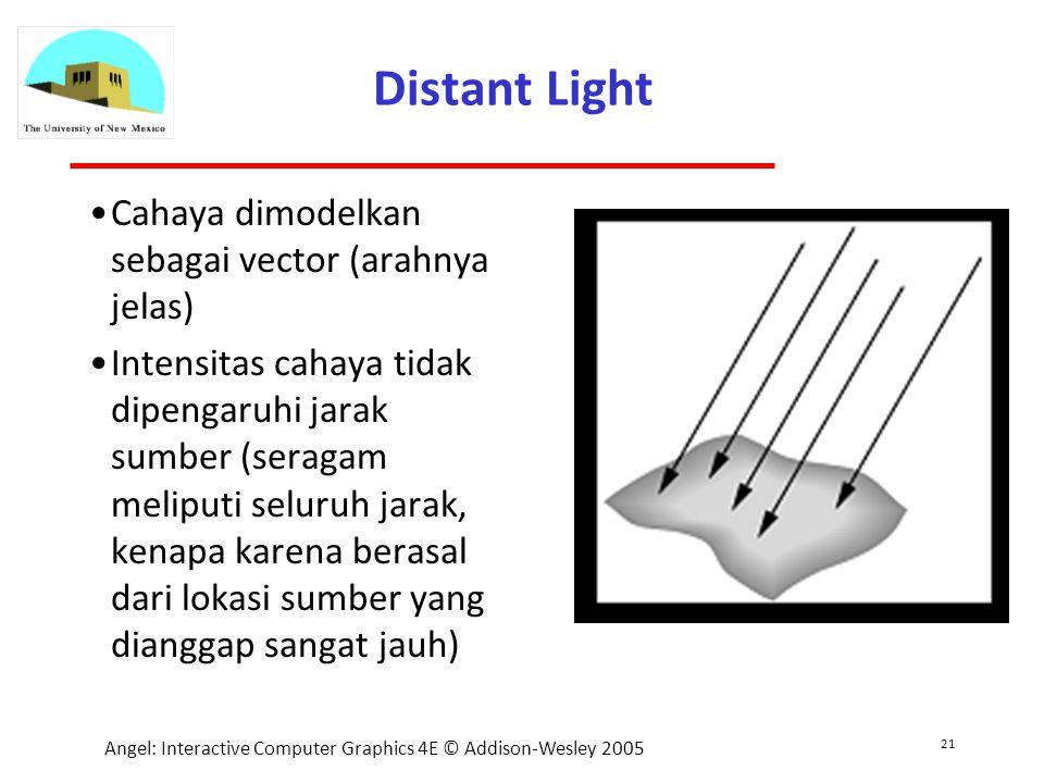 21 Angel: Interactive Computer Graphics 4E © Addison-Wesley 2005 Distant Light Cahaya dimodelkan sebagai vector (arahnya jelas) Intensitas cahaya tidak dipengaruhi jarak sumber (seragam meliputi seluruh jarak, kenapa karena berasal dari lokasi sumber yang dianggap sangat jauh)