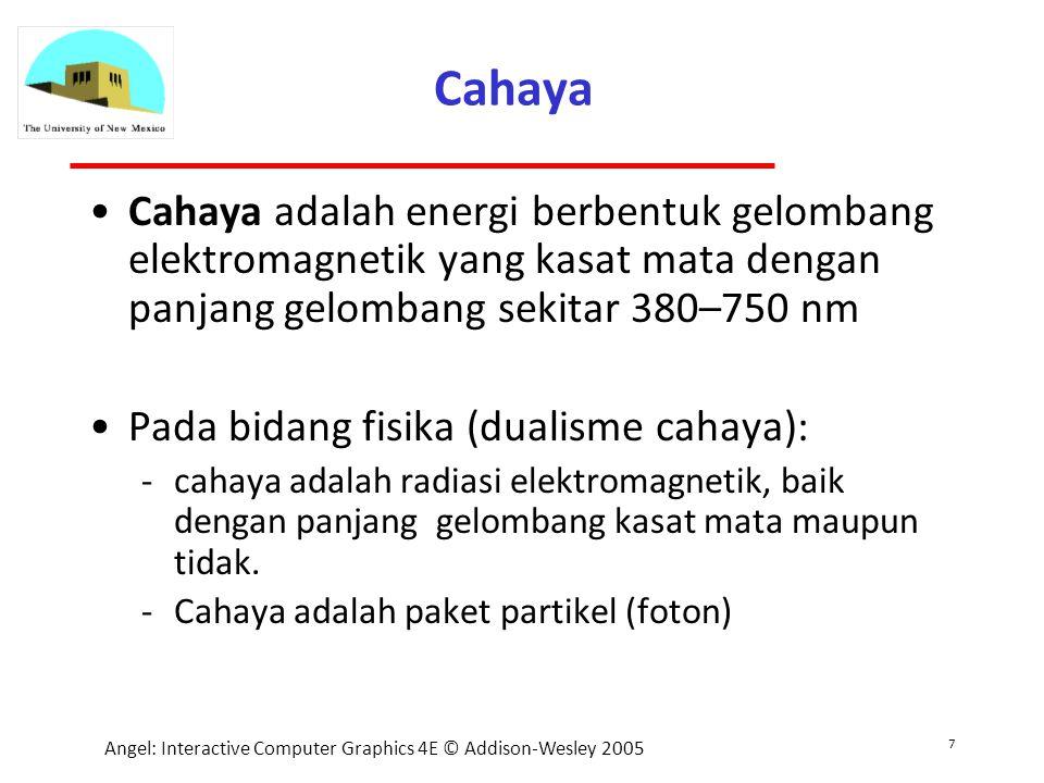 7 Angel: Interactive Computer Graphics 4E © Addison-Wesley 2005 Cahaya Cahaya adalah energi berbentuk gelombang elektromagnetik yang kasat mata dengan panjang gelombang sekitar 380–750 nm Pada bidang fisika (dualisme cahaya): cahaya adalah radiasi elektromagnetik, baik dengan panjang gelombang kasat mata maupun tidak.