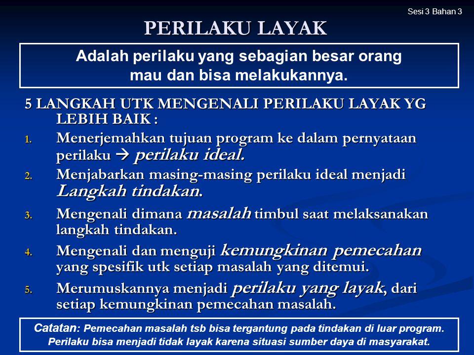 PERILAKU LAYAK 5 LANGKAH UTK MENGENALI PERILAKU LAYAK YG LEBIH BAIK : 1. Menerjemahkan tujuan program ke dalam pernyataan perilaku  perilaku ideal. 2