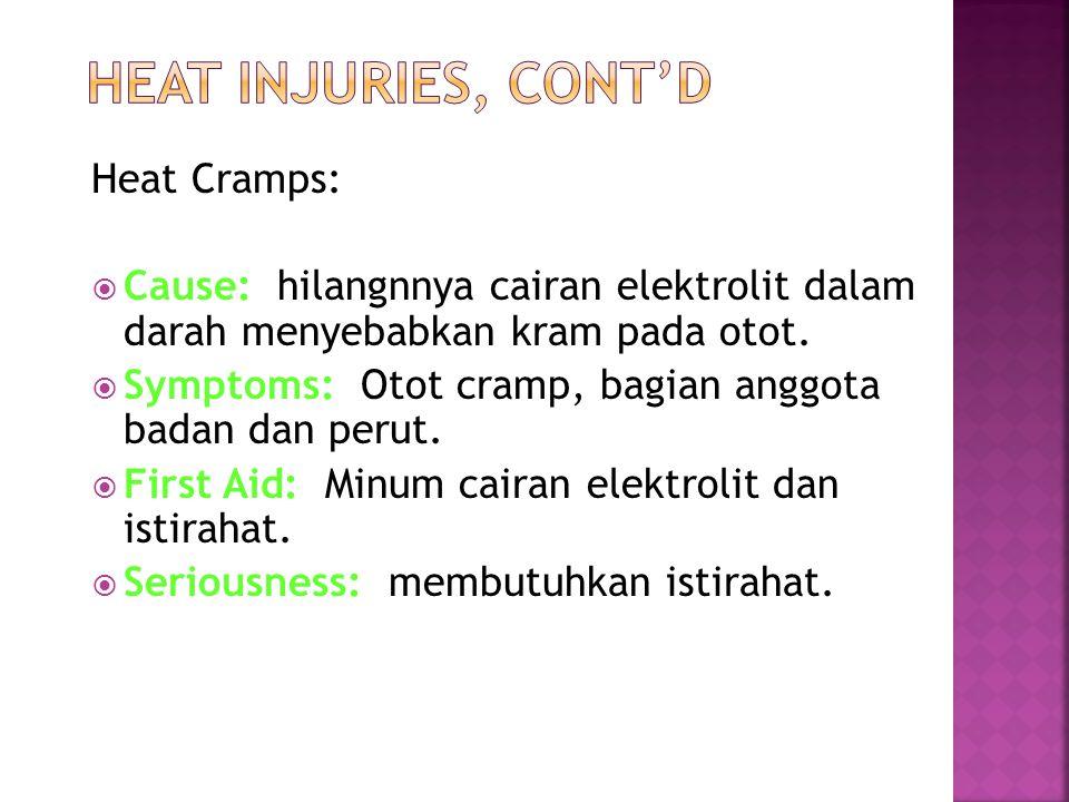 Heat Cramps:  Cause: hilangnnya cairan elektrolit dalam darah menyebabkan kram pada otot.