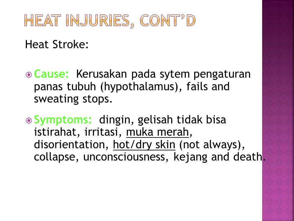 Heat Stroke:  Cause: Kerusakan pada sytem pengaturan panas tubuh (hypothalamus), fails and sweating stops.