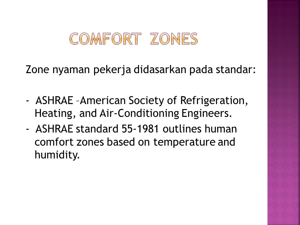 Zone nyaman pekerja didasarkan pada standar: - ASHRAE –American Society of Refrigeration, Heating, and Air-Conditioning Engineers.