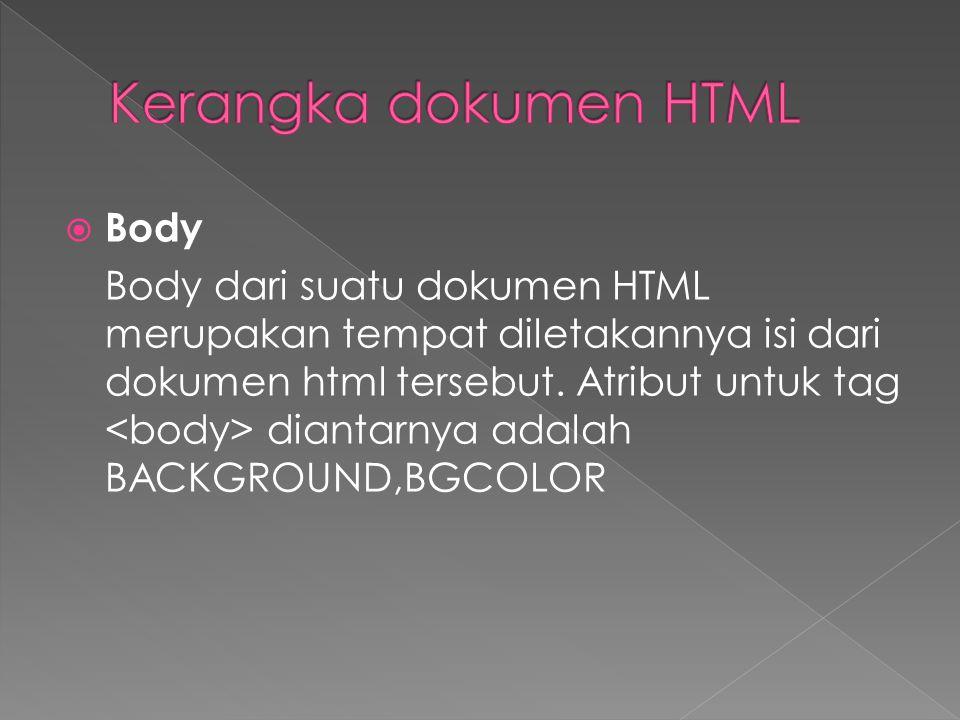  Body Body dari suatu dokumen HTML merupakan tempat diletakannya isi dari dokumen html tersebut.