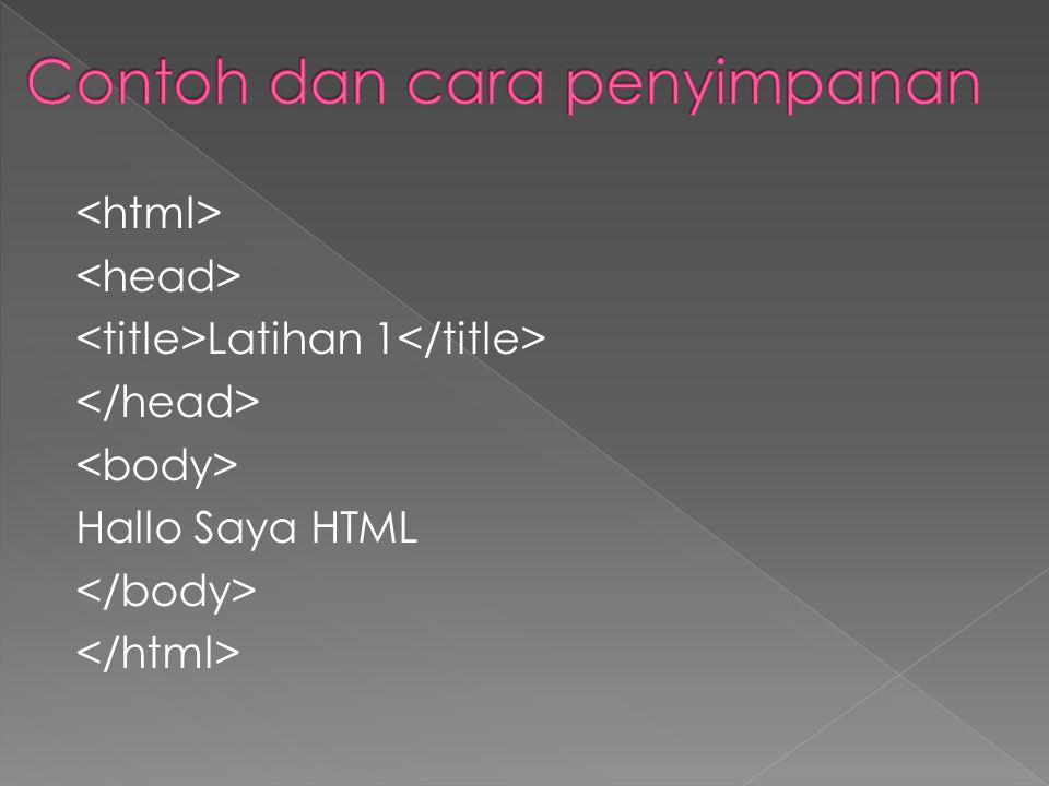 Latihan 1 Hallo Saya HTML