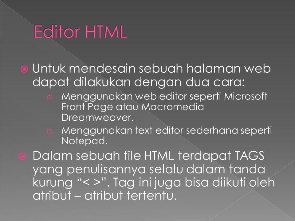  Tag HTML digunakan untuk menandai element HTML  Tag HTML biasanya berpasangang seperti dan  Tag yang pertama adalah start tag dan tag yang kedua adalah end tag.