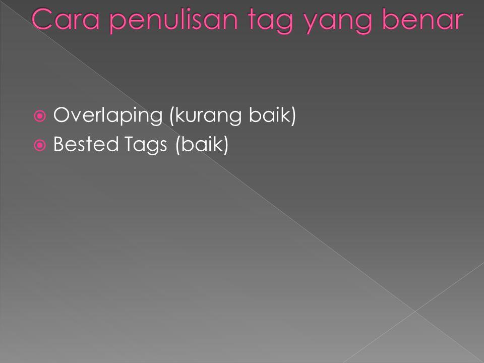  Overlaping (kurang baik)  Bested Tags (baik)