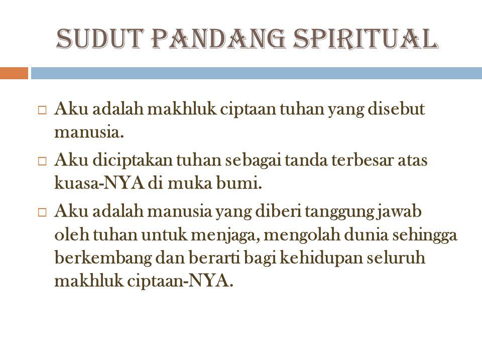 SUDUT PANDANG SPIRITUAL  Aku adalah makhluk ciptaan tuhan yang disebut manusia.