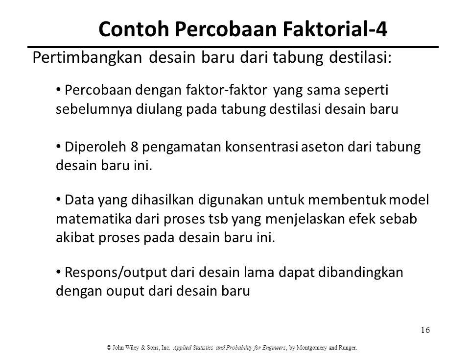 Contoh Percobaan Faktorial-4 16 Pertimbangkan desain baru dari tabung destilasi: Percobaan dengan faktor-faktor yang sama seperti sebelumnya diulang p