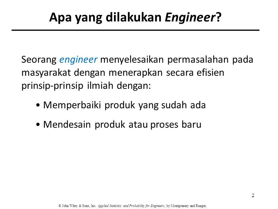 Seorang engineer menyelesaikan permasalahan pada masyarakat dengan menerapkan secara efisien prinsip-prinsip ilmiah dengan: Memperbaiki produk yang su