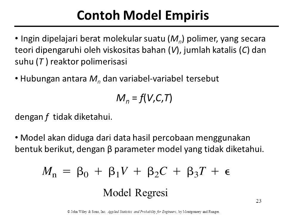 Contoh Model Empiris Ingin dipelajari berat molekular suatu (M n ) polimer, yang secara teori dipengaruhi oleh viskositas bahan (V), jumlah katalis (C