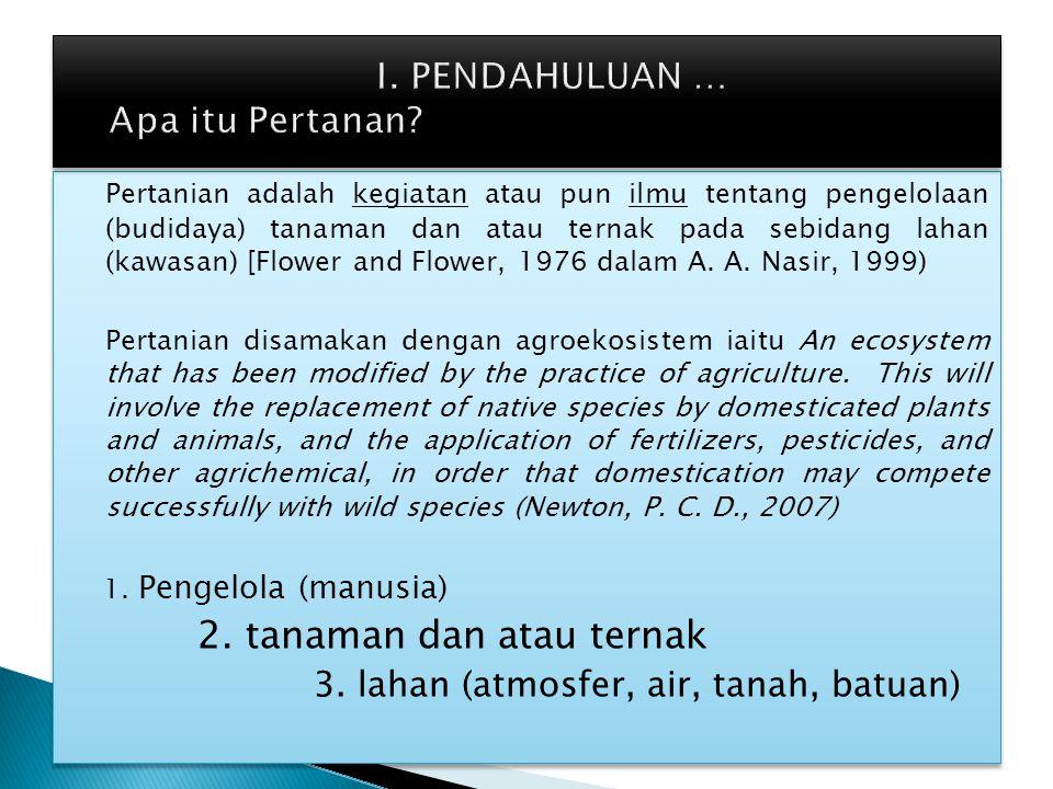 Pertanian adalah kegiatan atau pun ilmu tentang pengelolaan (budidaya) tanaman dan atau ternak pada sebidang lahan (kawasan) [Flower and Flower, 1976