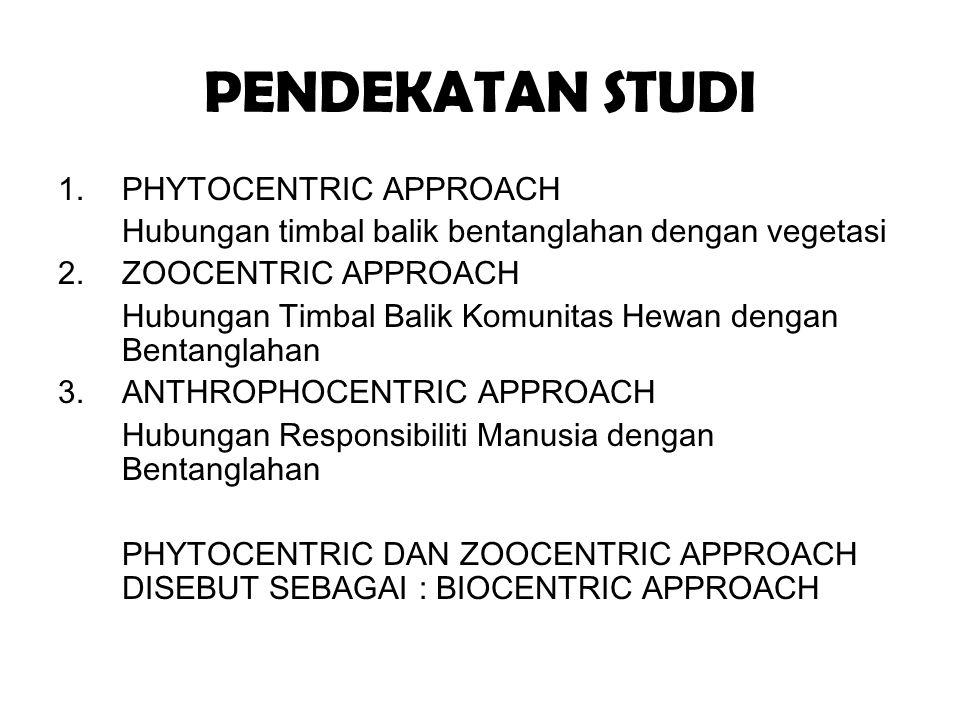PENDEKATAN STUDI 1.PHYTOCENTRIC APPROACH Hubungan timbal balik bentanglahan dengan vegetasi 2. ZOOCENTRIC APPROACH Hubungan Timbal Balik Komunitas Hew
